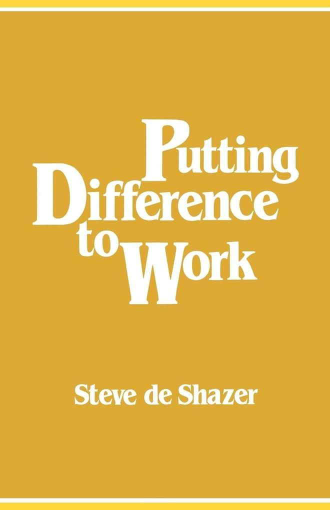 Putting Difference to Work als Taschenbuch