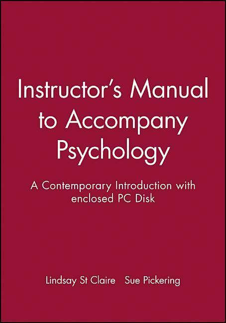Instructor's Manual to Accompany Psychology: A Contemporary Introduction with Enclosed PC Disk als Taschenbuch
