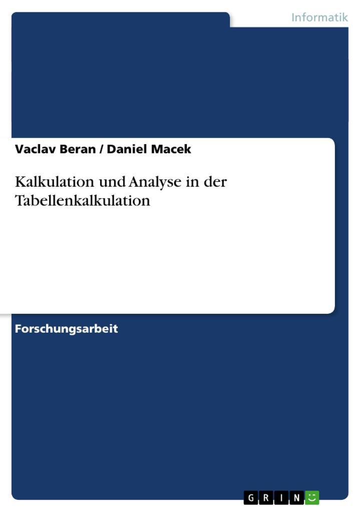 Kalkulation und Analyse in der Tabellenkalkulation als Buch (kartoniert)