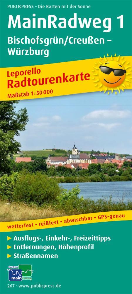 Main-Radweg 1, Bischofsgrün/Creußen - Würzburg. Radwanderkarte 1 : 50 000 als Blätter und Karten