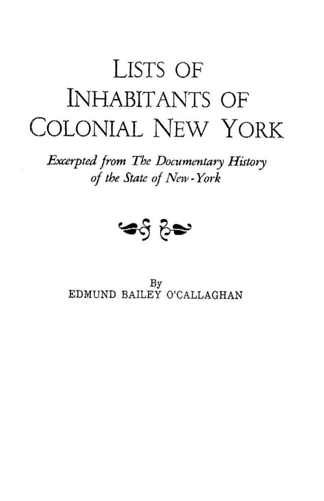 Lists of Inhabitants of Colonial New York als Taschenbuch