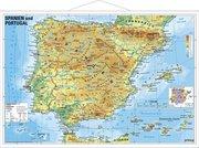 Spanien und Portugal physisch. Wandkarte