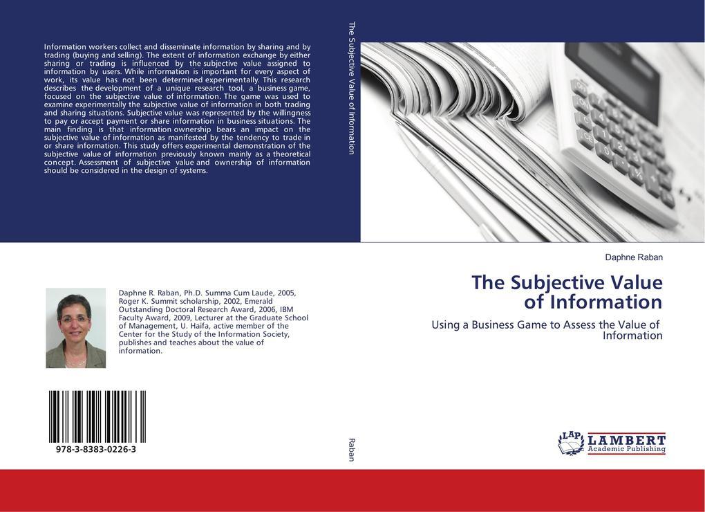 The Subjective Value of Information als Buch (gebunden)