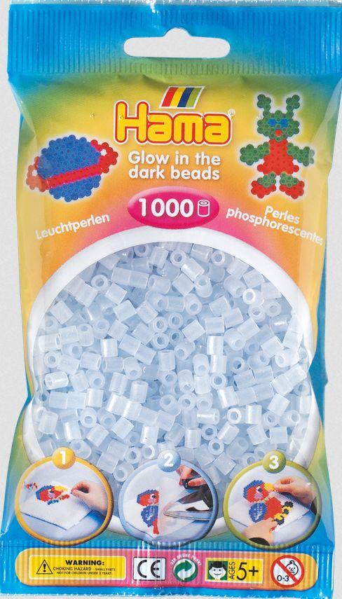 Hama - Beutel mit Perlen, 1000 Stück, nachtleuchtend, blau als Spielware