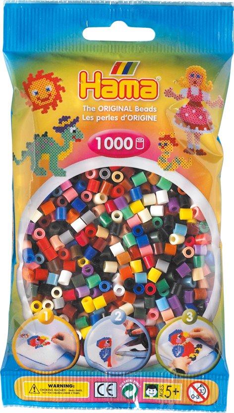 Hama - Bügelperlen im Beutel, ca 1000 Stck, Volltonmix als Spielware