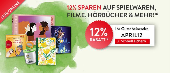 Sparen Sie jetzt 12% auf alle Filme, Spielwaren, Schreibwaren, und mehr!
