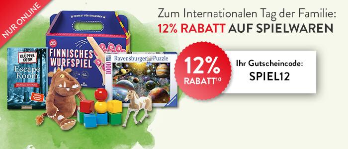 Sparen Sie jetzt 12% auf alle Spielwaren!