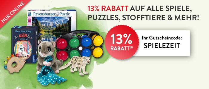Sparen Sie jetzt 13% auf alle Spielwaren!