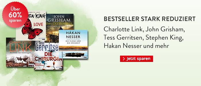 Bestseller Hörbuch Downloads reduziert bei Hugendubel: Charlotte Link, John Grisham, Tess Gerritsen, Stephen King und Hakan Nesser