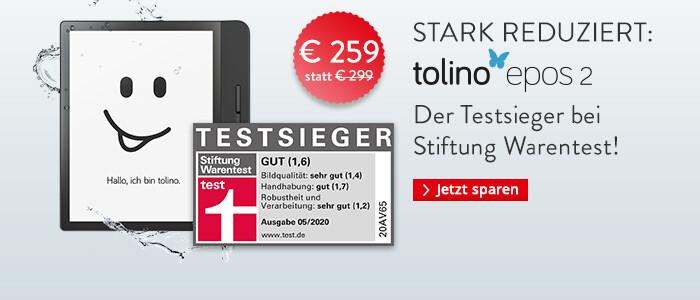 eReader tolino epos 2 nur €259 statt €299 - jetzt schnell sichern!